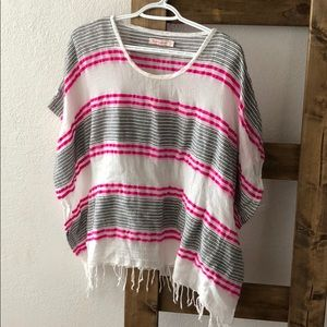 boho striped fringed tunic